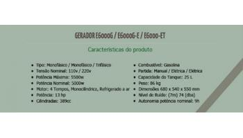 tabela Gerador a Gasolina 6 Kva Monofásico